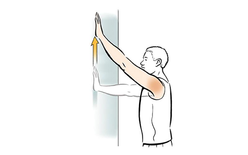 بالا بردن دست به کمک دیوار