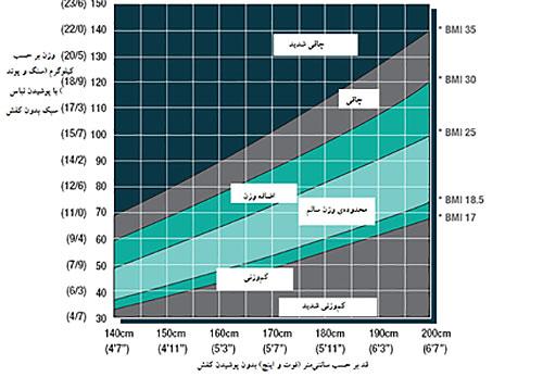 نمودار ارزیابی شاخص توده بدنی