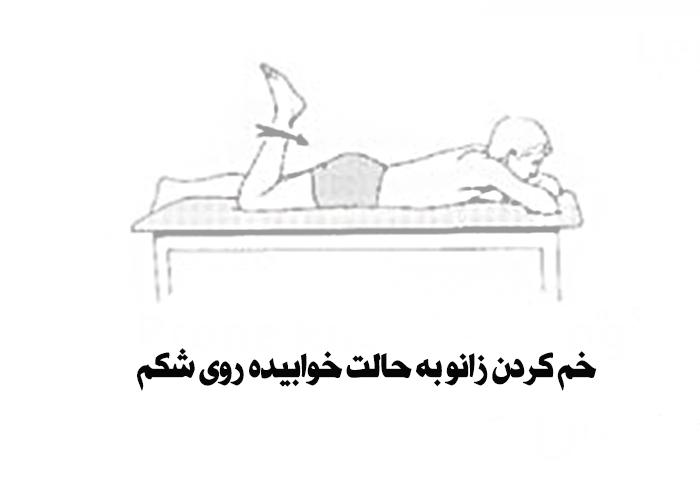 خم کردن زانو در حالت خوابیده روی شکم برای کاهش درد و التهاب زانو